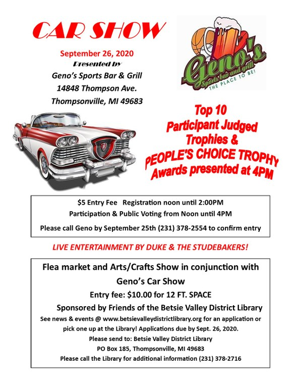 Friends of the BVDL Arts & Crafts and Flea Market, Geno's Car Show Flyer