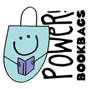 PoWer Book Bags Logo with smiling blue book bag